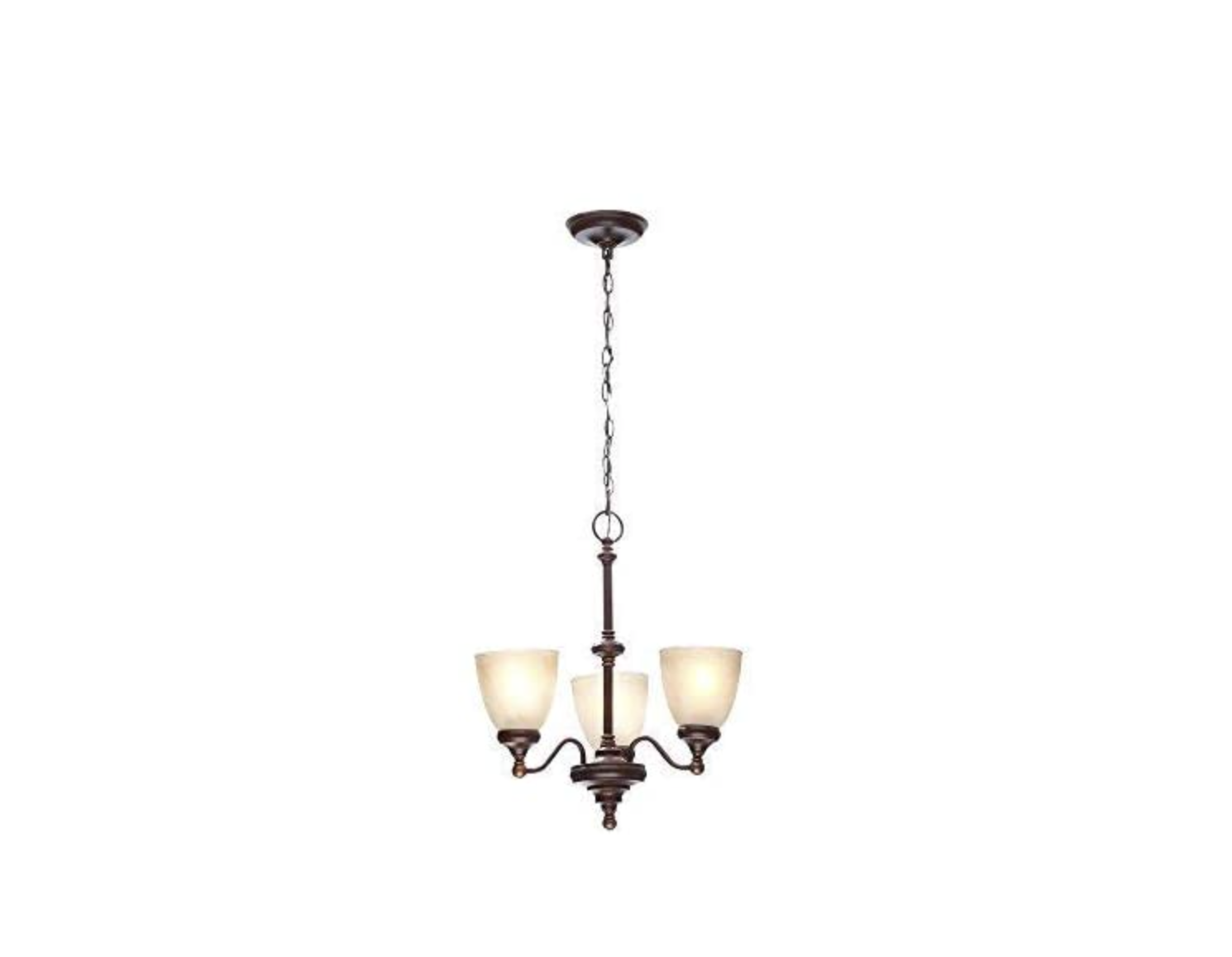 Primary image for Hampton Bay 3-Light Nutmeg Bronze Reversible Chandelier w/Tea-Stained Glass(NEW)