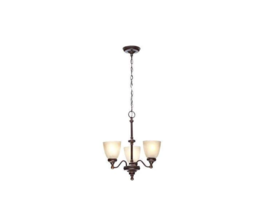 Hampton Bay 3-Light Nutmeg Bronze Reversible Chandelier w/Tea-Stained Gl... - $107.91