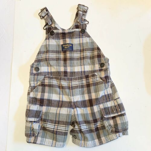 OshKosh B;gosh Brown Green Plaid Shortalls Short Overalls Baby Boy 9 M Vestbak  - $14.95