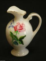 Porcelain Mini Pitcher w Rose Pattern & Gold Trim Shadowbox Decor ~ Japan - $6.92