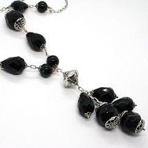 Necklace Silver 925, Onyx Black round, Drop, Bunch Pendant image 3