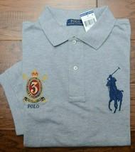 Polo Ralph Lauren Men's Big Pony Grey Heather Cotton Polo Shirt Big & Tall 3XLT - $58.80