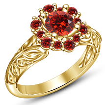14k Gold Plated Solid 925 Sterling Silver Round Cut Red Garnet Engagemen... - $74.99
