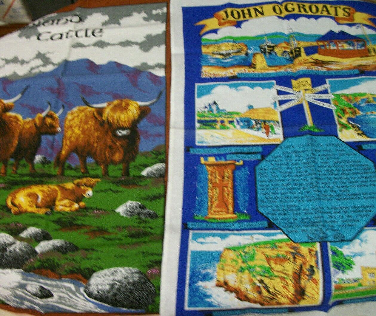 LOT 2  Vintage NWOT  Cotton Kitchen Tea  Towel UK souvenir