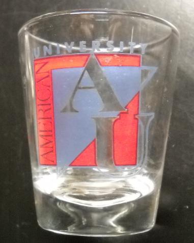 American University Shot Glass Clear Glass with AU Blue AU Red Black Logo