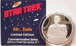 Classic Star Trek Sulu 1 Oz Pure Silver Proof Coin 1989, NEW MINT IN BOX - $79.22