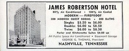 James Robertson Hotel Nashville Tennessee Rooms w Bath 1956 Travel Touri... - $10.99