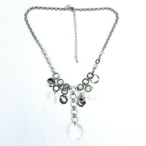 "Lia Sophia Signed Silvertone Circle Shell Dangle Drop Necklace 16"" To 19"" - $14.54"