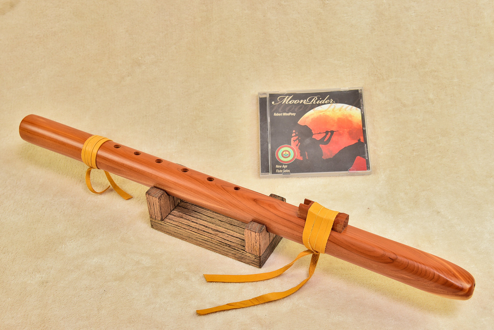 Windpony Cedar Flute in the Key of F# with Rack + FREE Flute CD