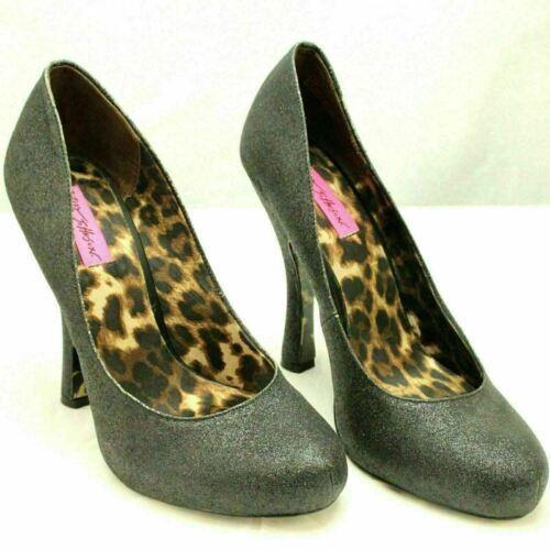 Betsey Johnson Women Classic Pump Heels Tastty Size US 9.5M Black Glitter - $18.00