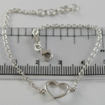 18K WHITE GOLD BRACELET 7.10 INCHES WITH HEART, ROUND ROLO CHAIN, MADE IN ITALY image 1