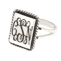 Sterling Silver Monogram Engravable Rectangular Shape with Rope Edge Sig... - $28.04+