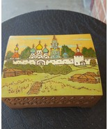 Wood carved jewelry box with painted picture on top - $25.05
