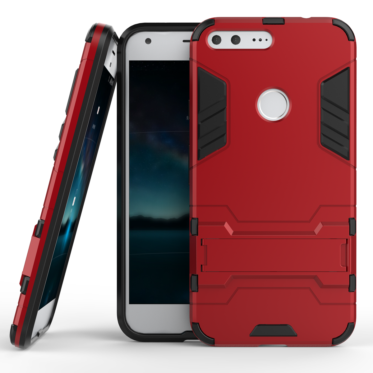 Rmor kickstand tough dual layer protective case for google pixel 5 0inch red p201610311524232580