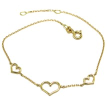 18K YELLOW GOLD SQUARE ROLO MINI BRACELET, 7.5 INCHES, 3 HEARTS, MADE IN ITALY image 1