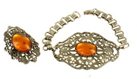Book Chain Amber Glass Vintage Victorian Revival Filigree Cab Bracelet &... - $67.49