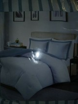 Luxury Blue & White Reversible Striped Down Alternative Comforter AND Shams image 2
