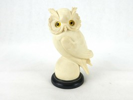 Alabaster Owl Figurine, Off-White, Yellow Glass Eyes, Owl Perched On Ball - $14.65