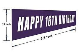 Blue Happy 16th Birthday Banner, Large 16th Birthday Party Sign, 16 Bday Party S image 2