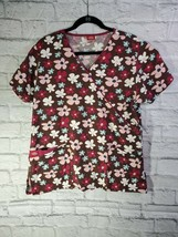 Dickies Top Size M Womens Brown Floral Short Sleeve V Neck Scrub Top - $18.08