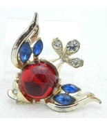 Vintage Glass Jelly Belly Rhinestone Gold Tone Fish Pin Brooch UNSIGNED - $72.85