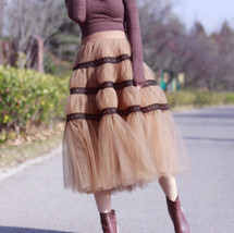 High Waisted Tiered Tulle Skirt Outfit Khaki Puffy Tiered Skirt Holiday Outfit  image 2