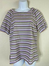 Talbots Womens Size MP Colorful Striped Blouse Short Sleeve - $18.22