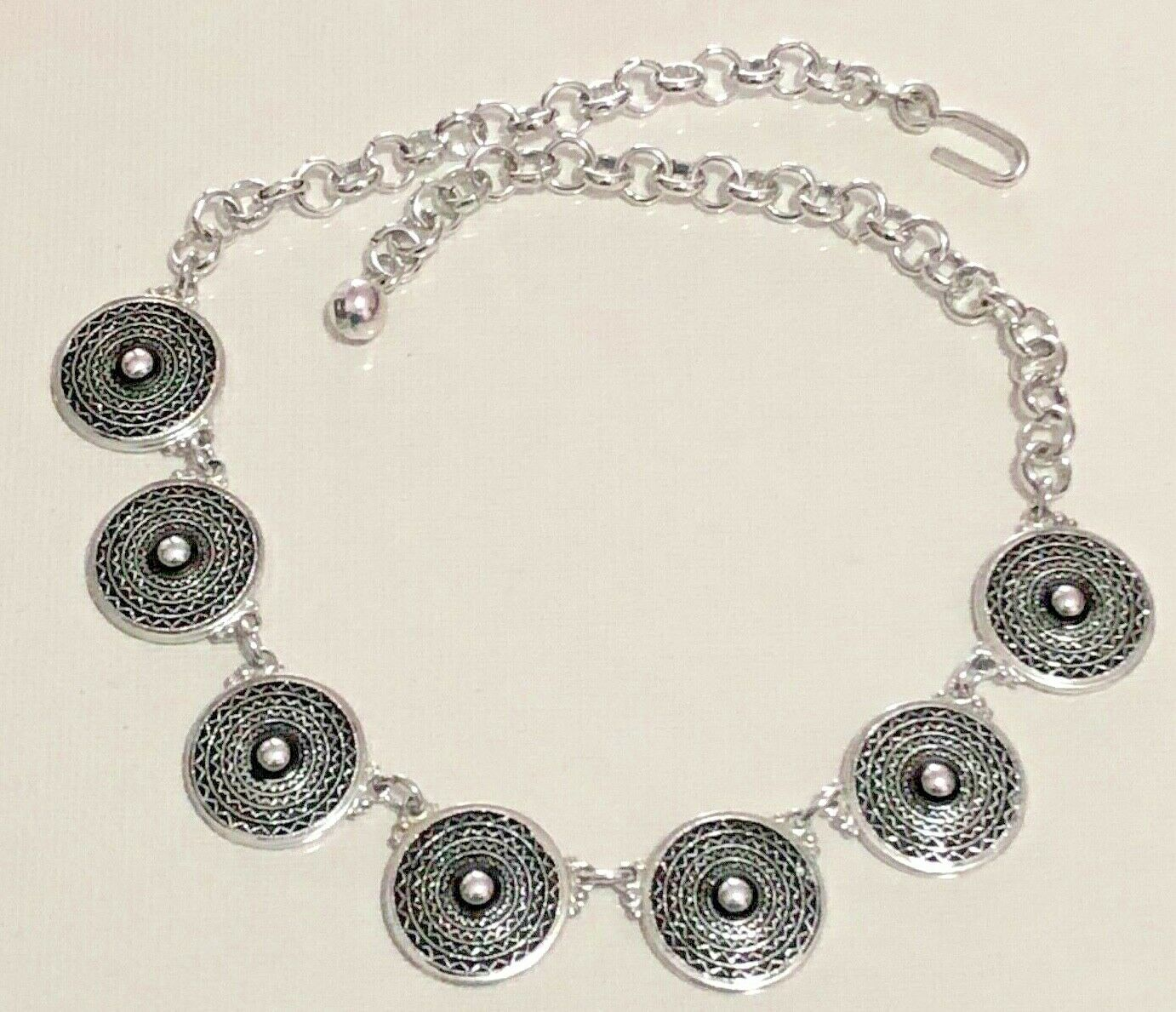 Awesome Vintage Textured Aluminum Disk Link Style Necklace - Made in Germany