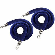 NovelBee 2 Pack of 5 Feet Velvet Rope with Black Plated Hooks,Crowd Control Stan