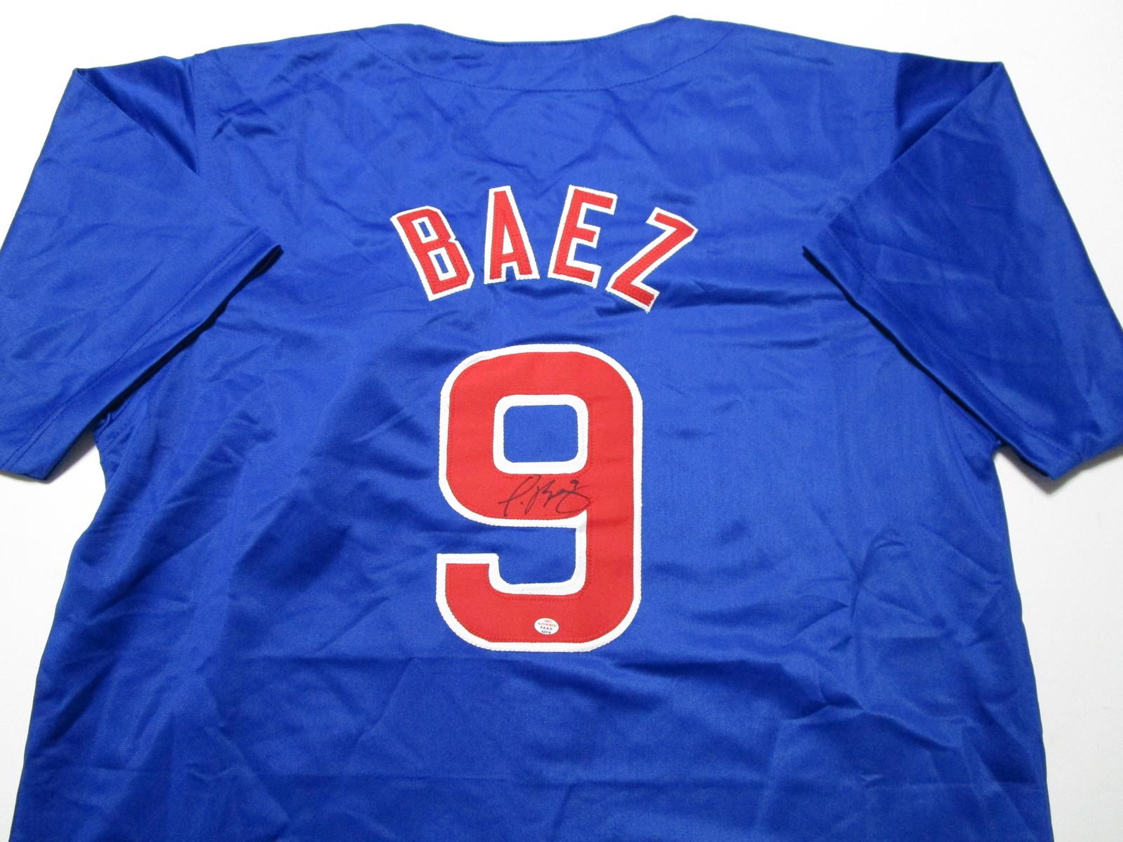 JAVIER BAEZ / AUTOGRAPHED CHICAGO CUBS BLUE CUSTOM BASEBALL JERSEY / COA