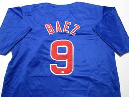 JAVIER BAEZ / AUTOGRAPHED CHICAGO CUBS BLUE CUSTOM BASEBALL JERSEY / COA image 1