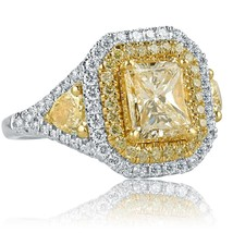 2.58 TCW Yellow Radiant Cut Pear Side Diamond Engagement Ring 18k White Gold - $6,206.31