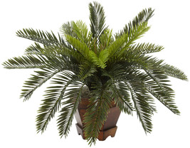 Nearly Natural 6657 Cycas With Hexagon Vase Decorative Silk Plant, Green - $48.91