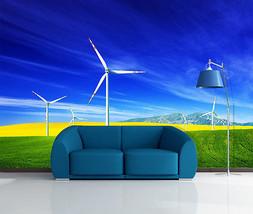 3D Grünes Gras, Windmühle 33 Fototapeten Wandbild Bild Tapete Familie Kinder - $52.15+