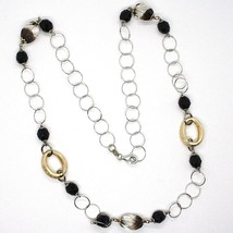 Silver 925 Necklace, Ovals Satin Yellow, Nugget Bicolor, Chain Rolo ' , 60 CM image 2
