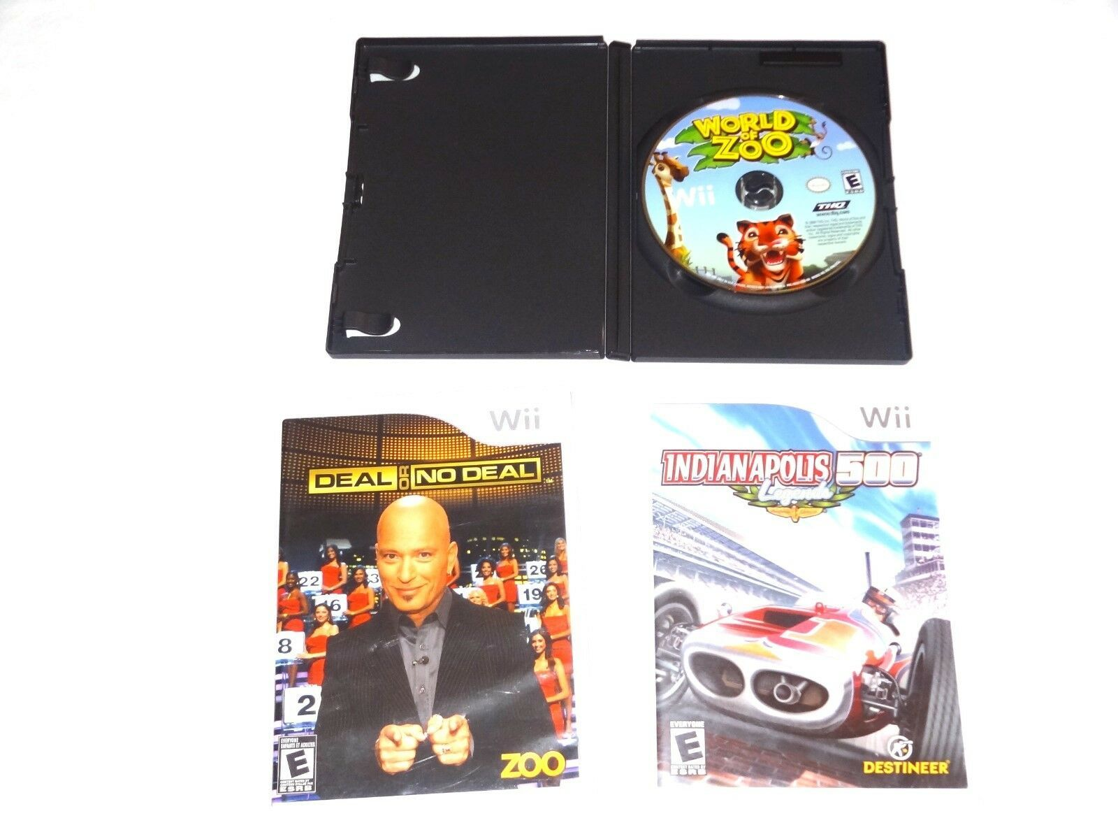 Nintendo Wii  World of Zoo Disk Only Indianapolis 500 Legends Deal or No deal