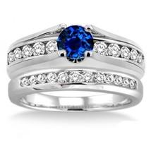 1.25 Carat Sapphire & Simulated Diamond Bridal Set on 14K White Gold Fn  - $99.99