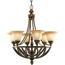 Antique seeded glass Gilded Truffle Finish Chandelier Progress Light P4017-120 - $578.55