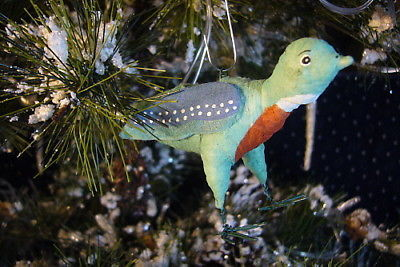 Vintage Inspired Spun Cotton Bluebird Christmas Ornament no. 68v