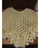 Yellow Hand Crocheted Toddler Girls Poncho 18-24 mo - $12.00