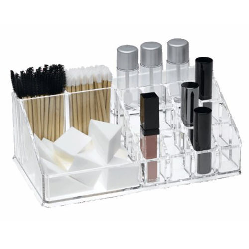 Clear Acrylic 16 Compartment Lipstick Brush Cosmetic Makeup Holder Organizer