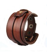 Jenia Punk Gothic Handmade Genuine Leather Bracelet Men Casual Wide Belt... - $24.54