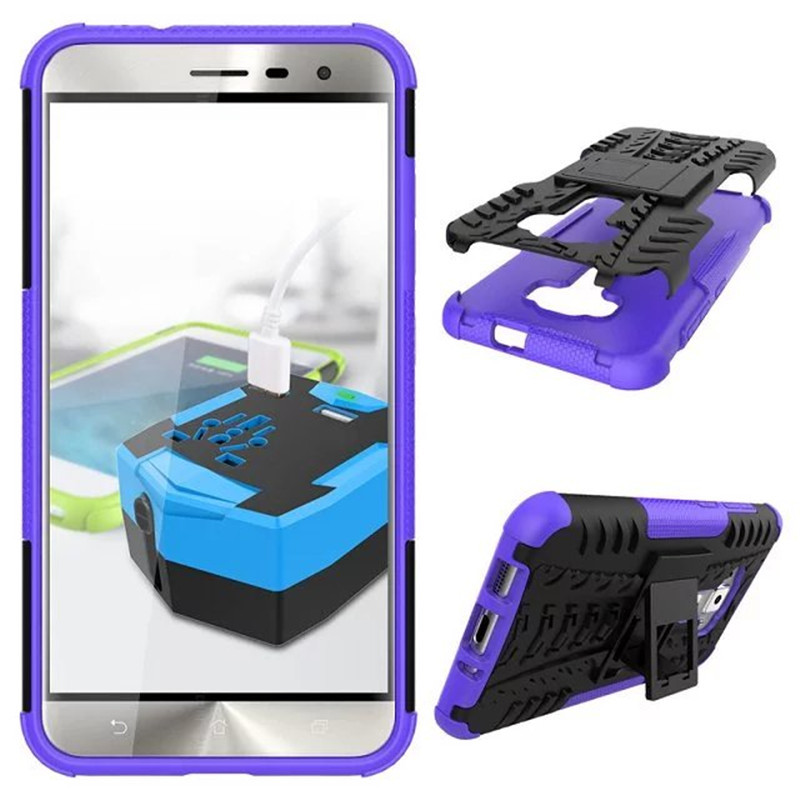 Hybrid Armor Kickstand Cover Case For ASUS ZenFone 3 ZE552KL 5.5inch - Purple