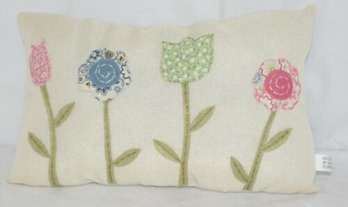 Ganz Flower Pillow Four Different Colored Flowers Off White Background