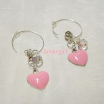 Sparkling Clear Faceted AB Crystal Pink Heart Silver Plate Hoop Earrings - $9.99