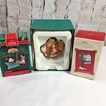 Lot Of 3 Hallmark Keepsake Santa Ornaments Sleigh Journey Mailbox Holly ... - $19.97