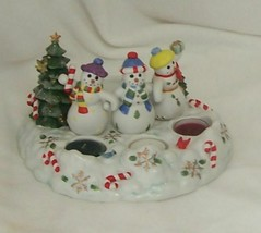 PartyLite Snowbell Tealight/Pillar Holder Adorable Hand Painted Porcelai... - $19.77