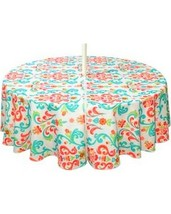 """Fabric Tablecloth Umbrella Hole Indoor Outdoor 70"""" RD Odesa New Water Re... - $31.08"""