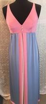 Vanity Fair Negligee Night Gown 34 Blue Pink White Vtg Nightie Full Length - $38.42