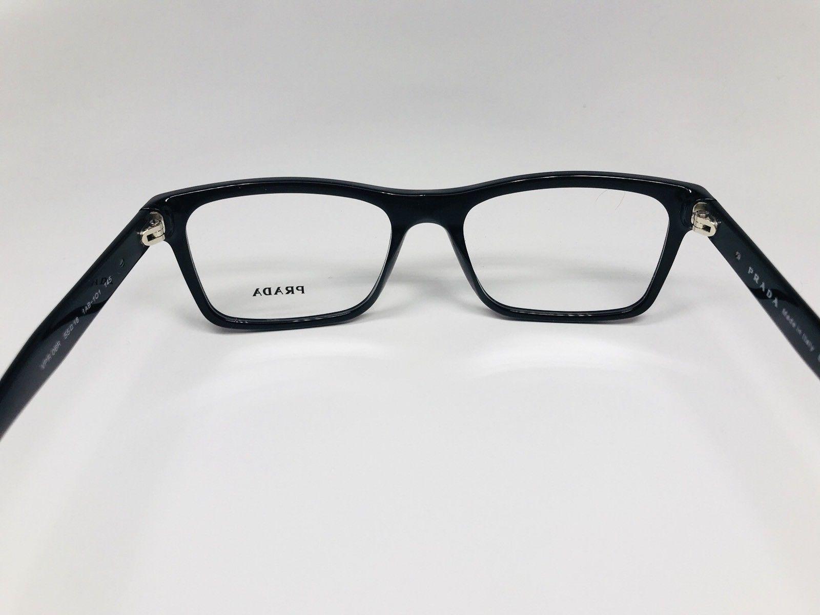 New Authentic PRADA VPR 06R 1AB-1O1 Shiny Black Eyeglasses 55/18/145 with Case